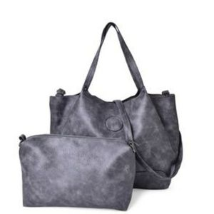 Handbags - Graphite Faux Leather Hobo Bag